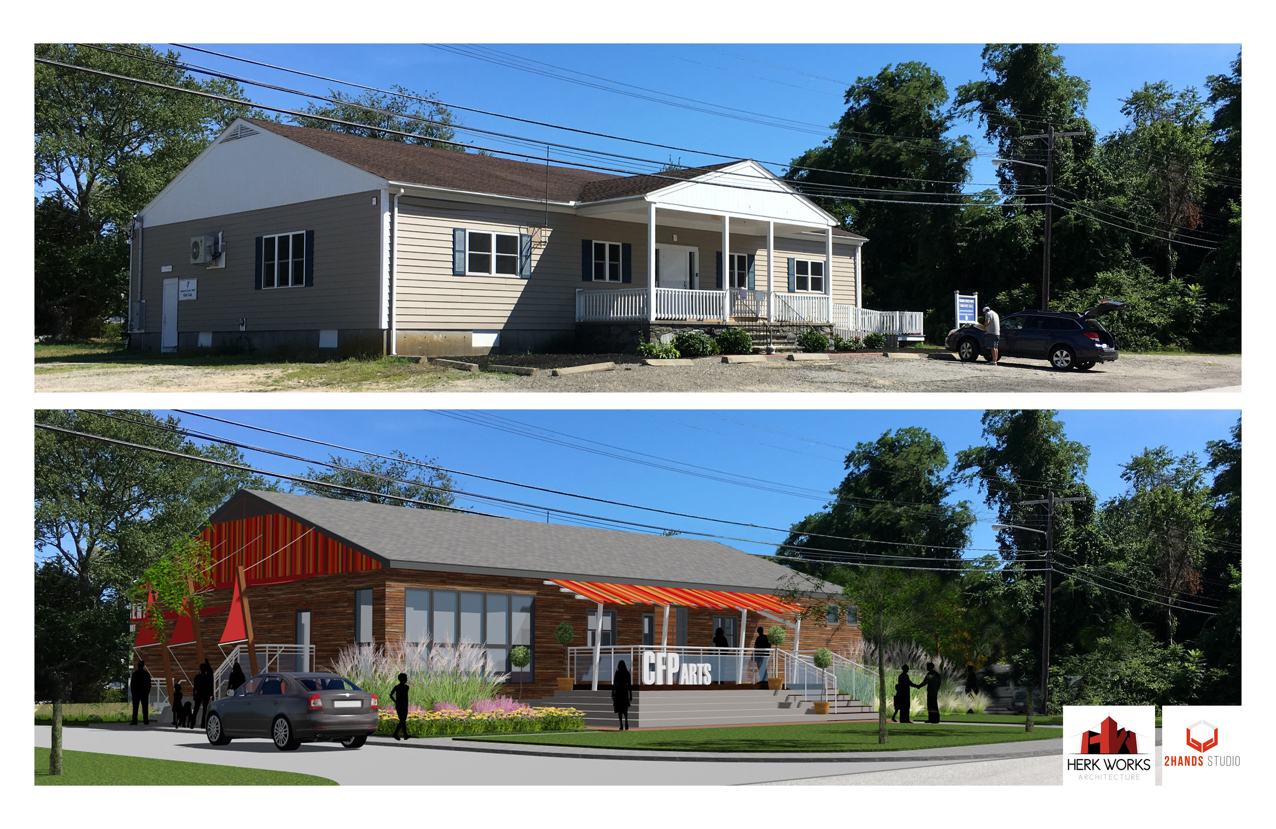 What the Common Fence Point Community Hall looks like today (top) and its possible future appearance (bottom).