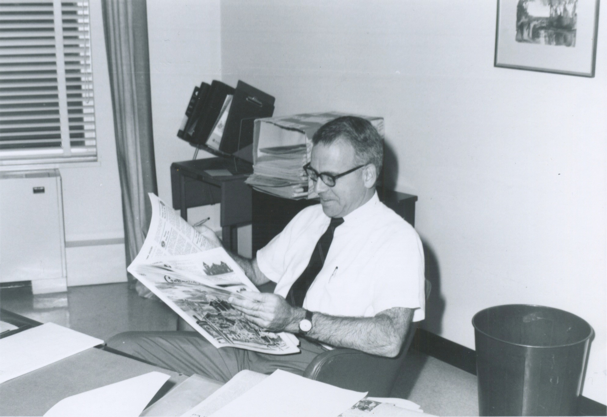 Ros Bosworth Jr. at his desk in the Bristol Phoenix office in the 1960's.