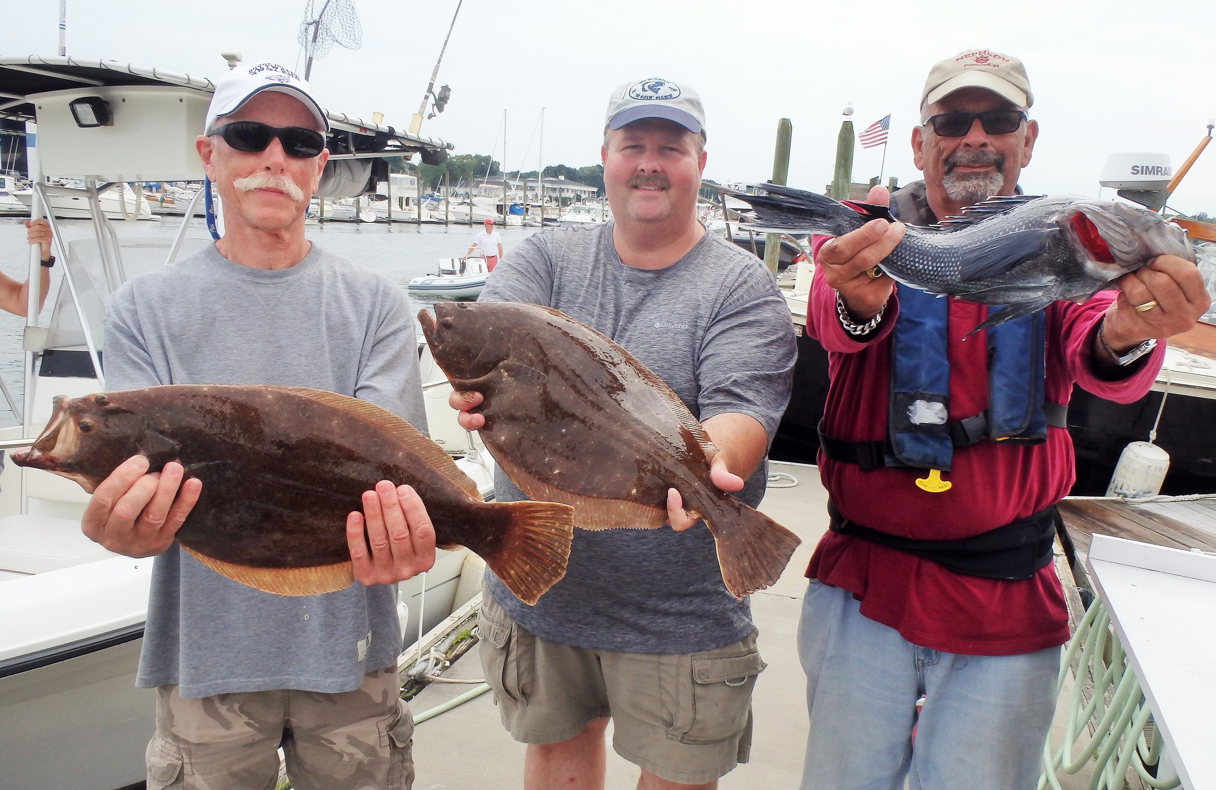 Rich Heffernan, Tom Wood and Larry Audino fished the East Grounds off Block Island for summer flounder and black sea bass Saturday.