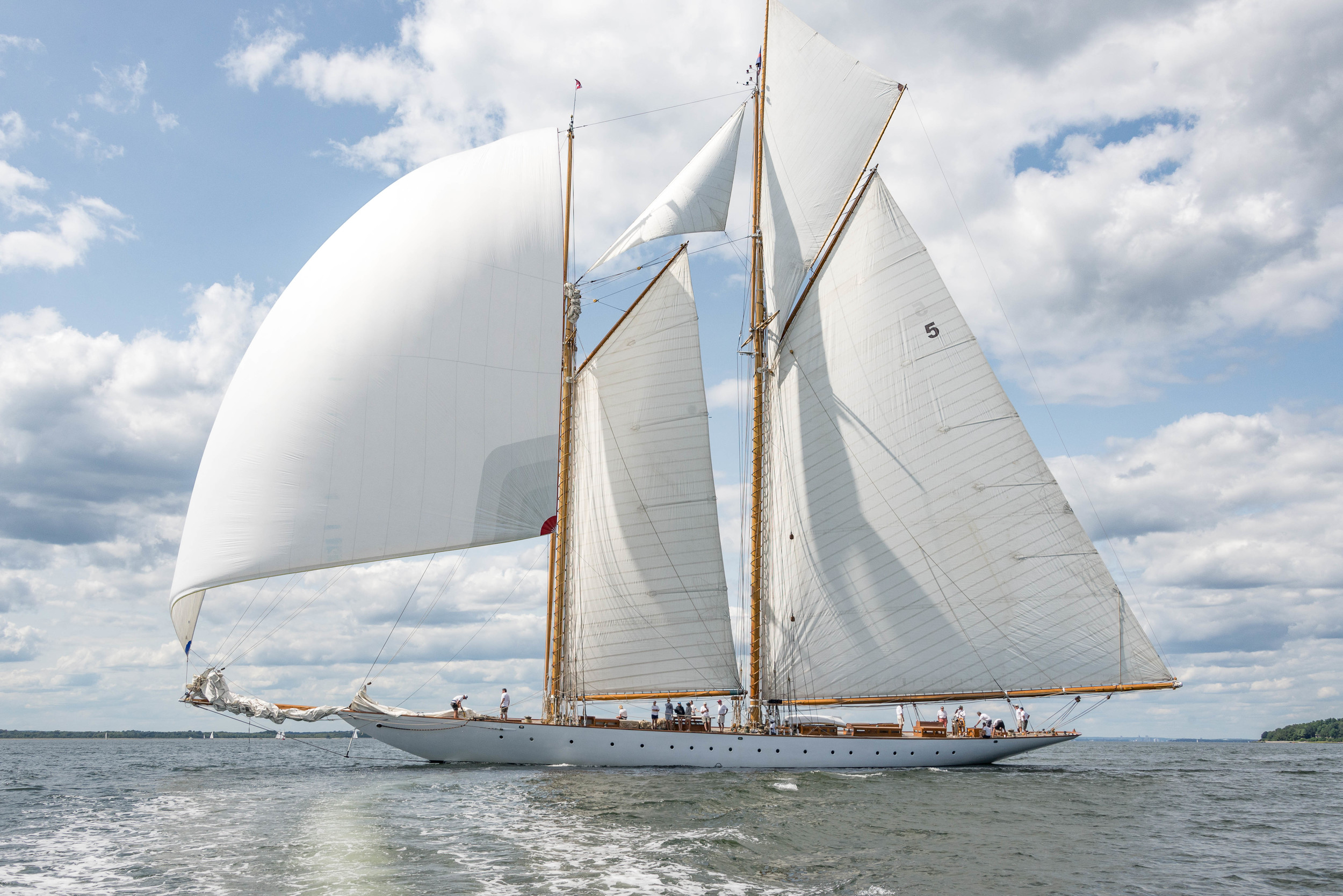 The 165-foot gaff schooner Eleonora, an exact replica of the famed Herreshoff yacht Westward, ghosts along in light breezes at the regatta.