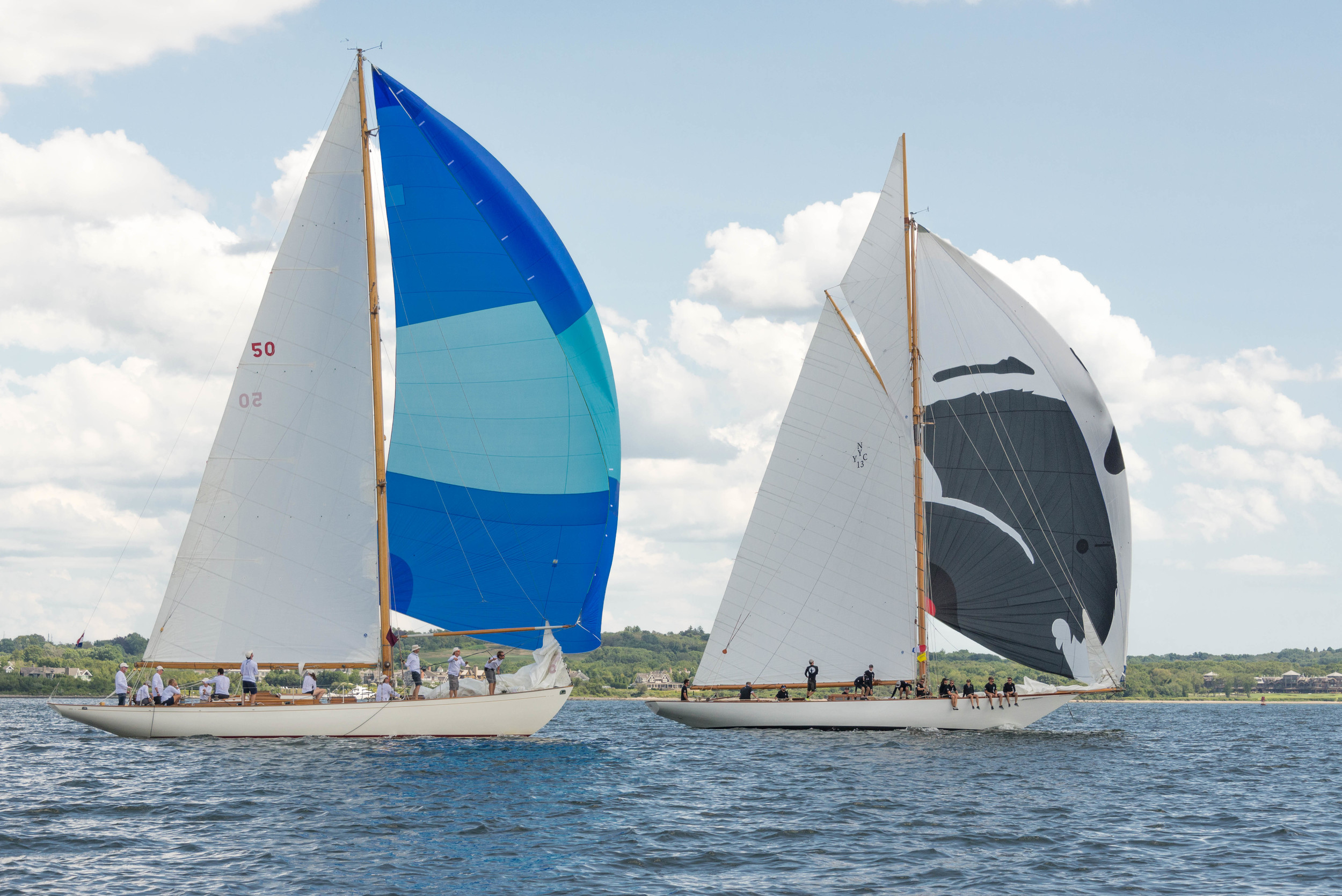 The 54-foot sloop Sonny (left) and 58.5-foot New York 40 Marilee race side by side under spinnaker.