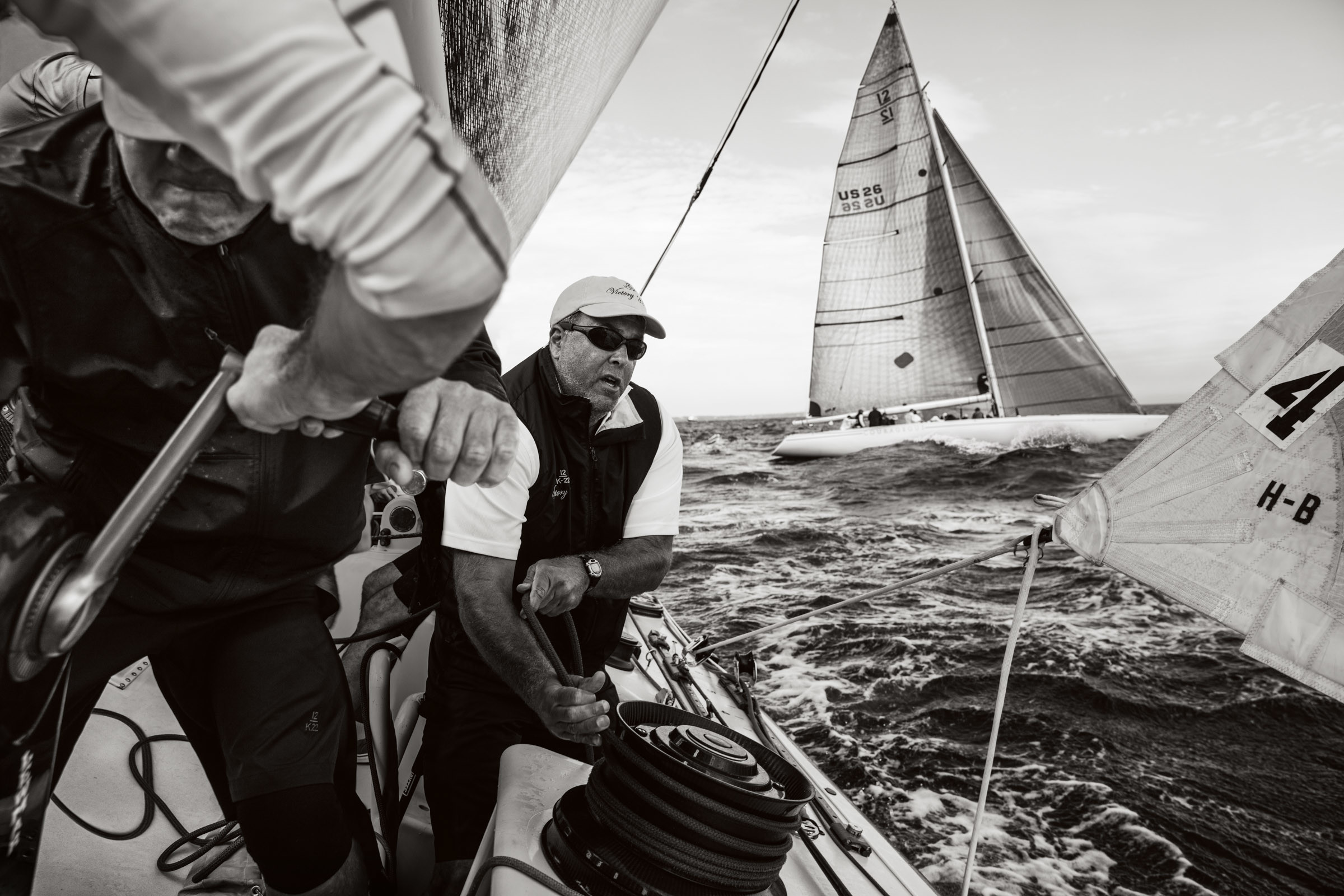 Action aboard Victory '83 at last year's 12 Metre North American Championship.