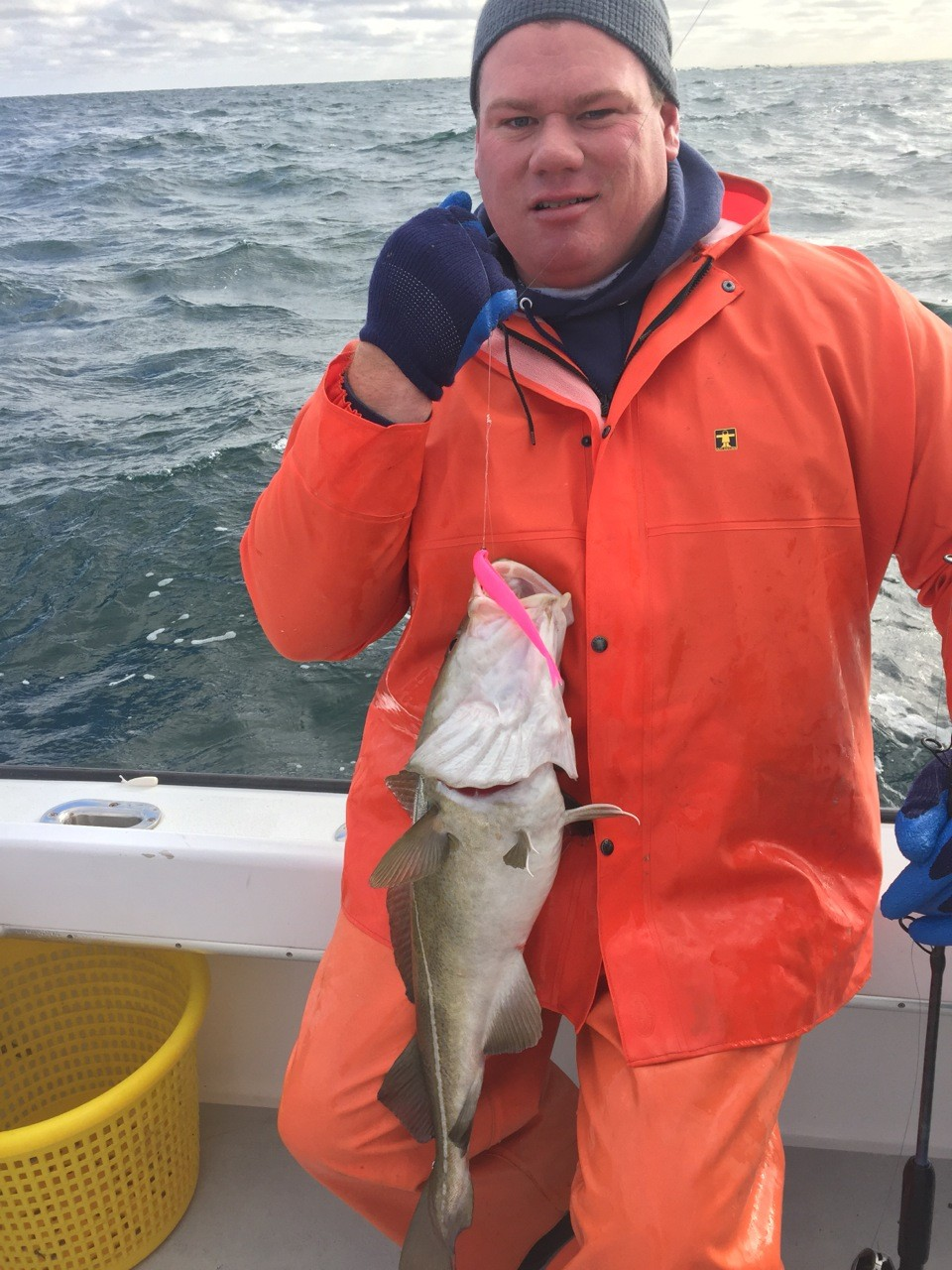 Capt. Shamus Mara of Big Game Charters with a cod caught south of Block Island.