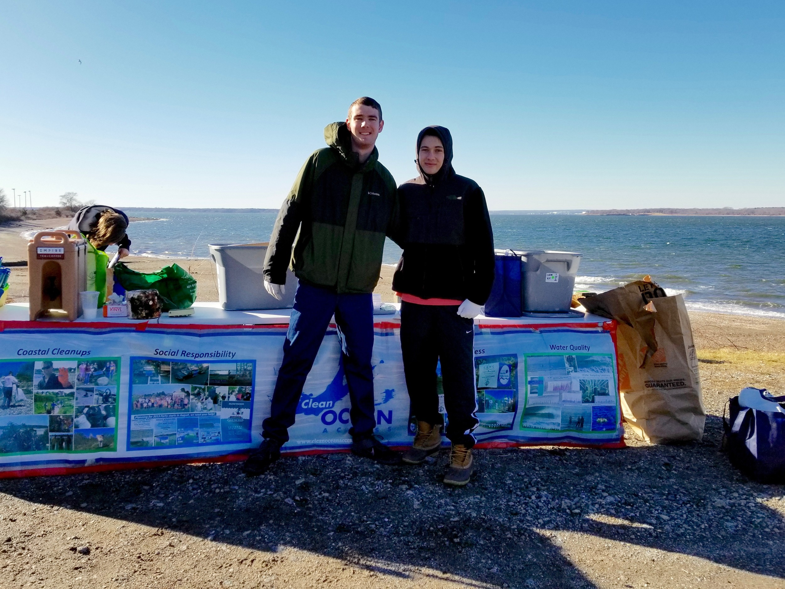 Two Clean Ocean Access volunteers pose for a photo during the Weaver Cove cleanup on Jan. 13.