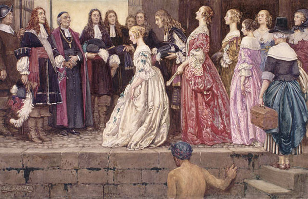 A view of women coming to Quebec in 1667, in order to be married to the French Canadian farmers. Talon and Laval are waiting for the arrival of the women in this watercolor by Eleanor Fortescue Brickdale, 1871-1945.