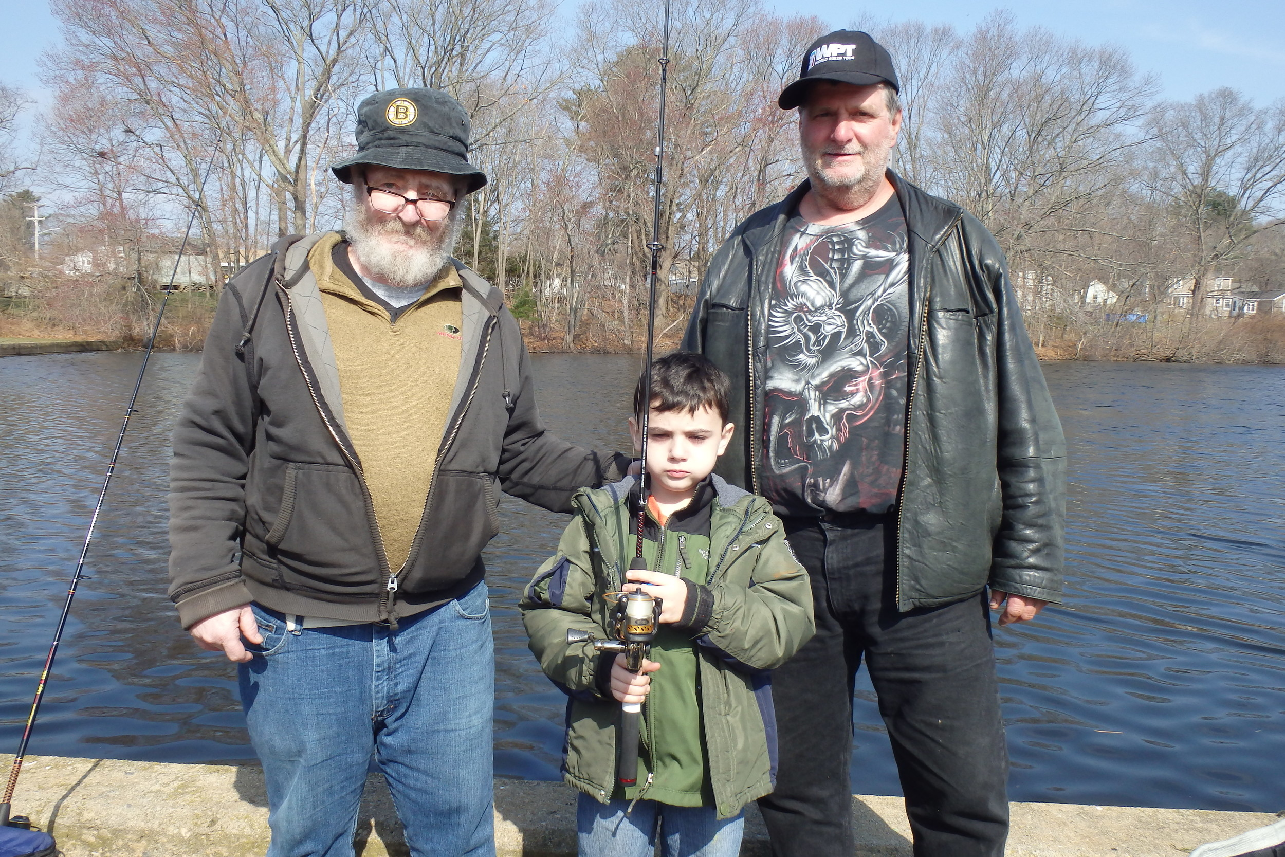"Brian Butler said ""DEM did a great job stocking with large fish 18 to 20 inches."" Butler fished with his grandson Adam Butler and friend Mike Mott at Willet Avenue Pond."