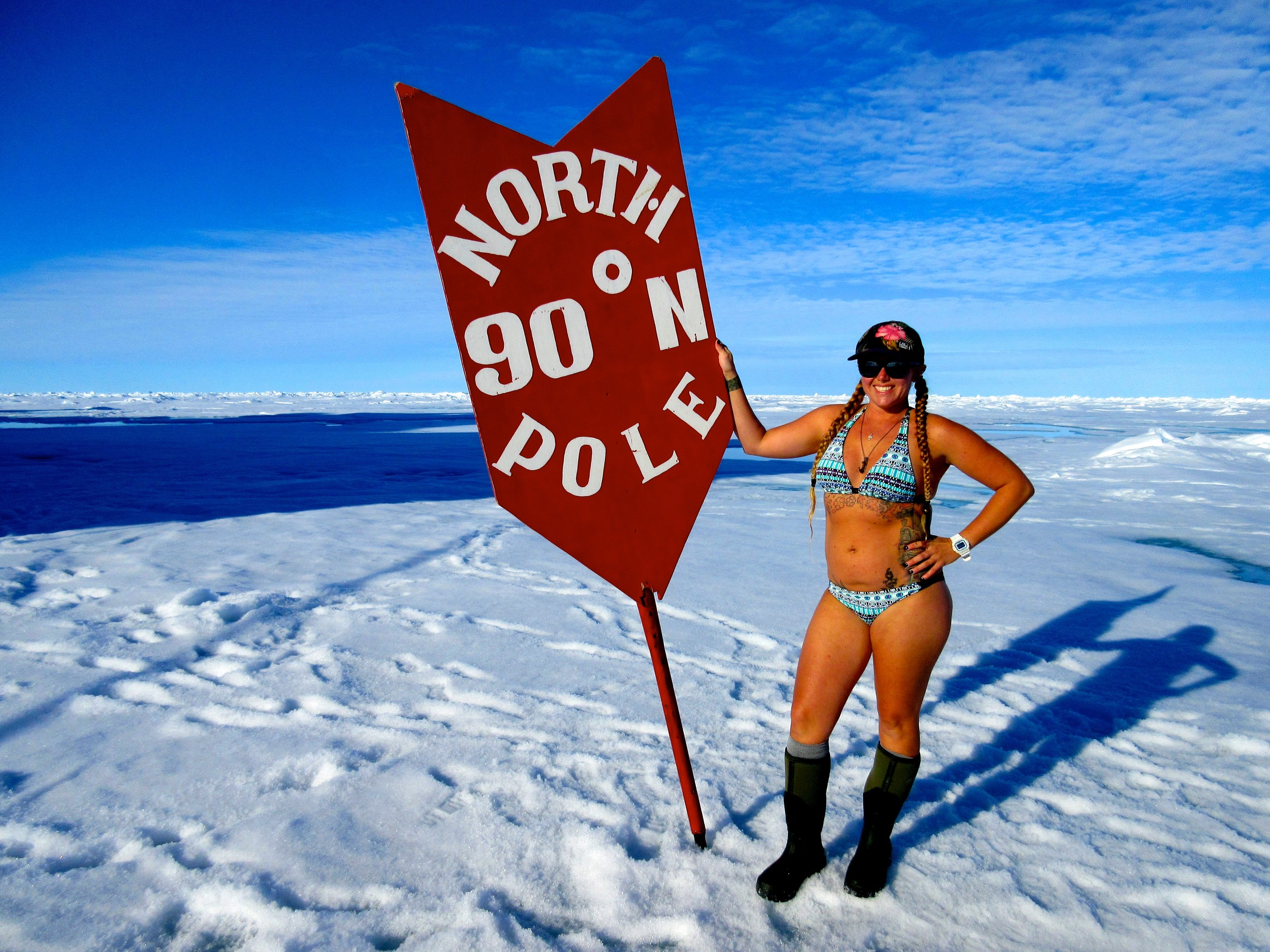 Posing in a bikini at the North Pole in 2016 was no big deal for Breezy Grenier of Portsmouth, who scuba dives year round in New England and is used to cold weather.
