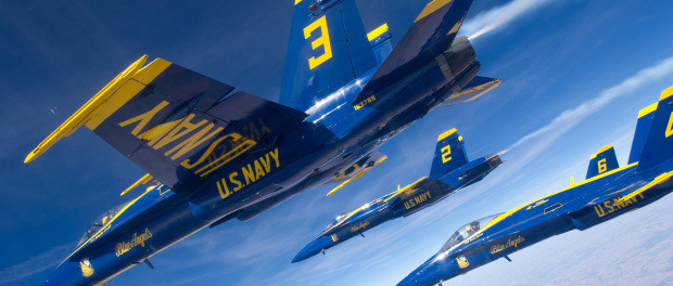 F/A-18 Hornets assigned to the U.S. Navy Flight Demonstration Squadron, the Blue Angels, fly in formation during a flight to Grand Junction, Colo. The Blue Angels maintain a six-aircraft delta formation during all transit flights. (U.S. Navy photo by Mass Communication Specialist 2nd Class Andrew Johnson)