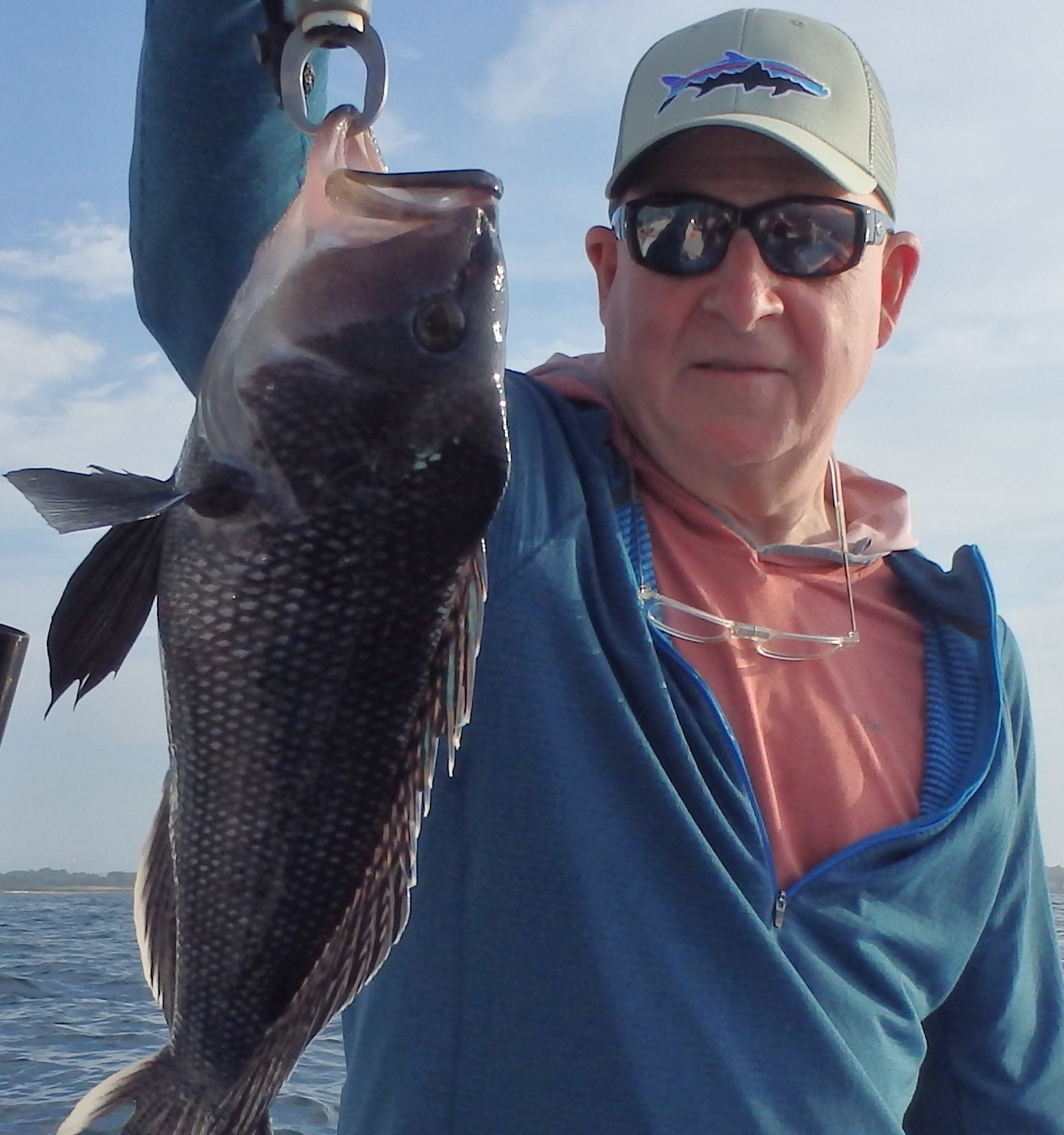 Tom Sadler of Virginia caught his first black sea bass keeper (20 inches) when fishing off Newport earlier this week.
