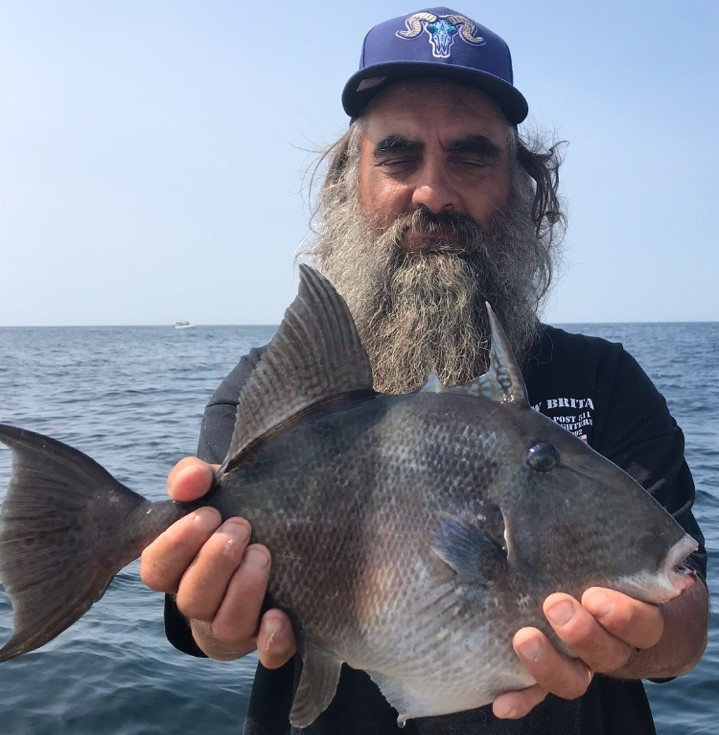 Trigger fish, usually a tropical or subtropical fish, are now being caught more often in our area like this one caught on Priority Too Charters last week.