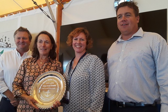 Anchor Award: Susan Maffei Plowden of Jamestown received the RI Marine Trades Association Anchor Award for her work as Stopover Director of the 2017/18 Volvo Ocean Race Newport. Brad Reed of Sail Newport (left) presented the award; Wendy Mackie, RIMTA executive director; and Brandon Kidd, RIMTA president.