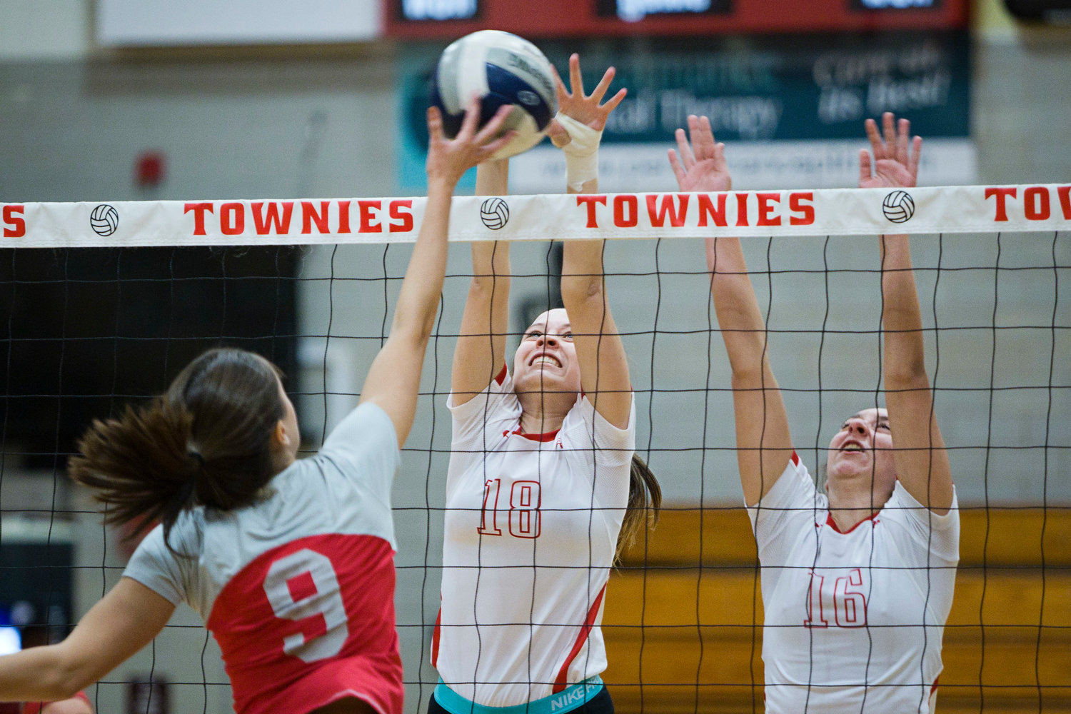 Hailey Hannon and Madison Gomes protect net for the Townies.