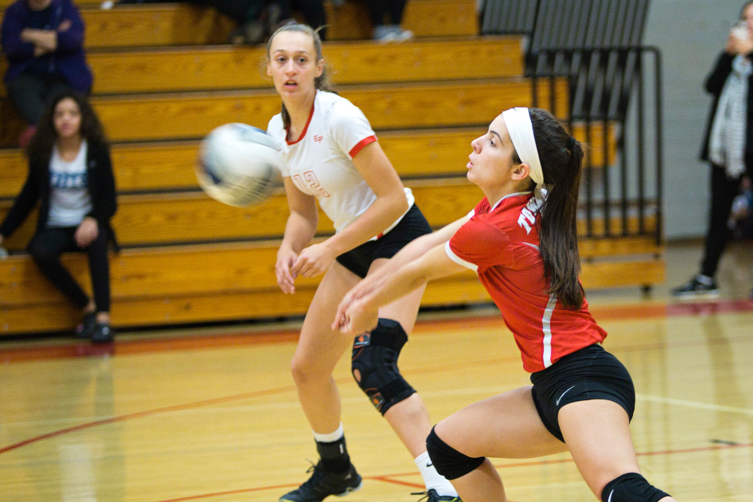 East Providence High School's Kylie Bahry receives a serve from a Cranston West opponent during the teams' Division I girls' volleyball match played in city earlier this week. Visit eastbayri.com to view more photos from the match.