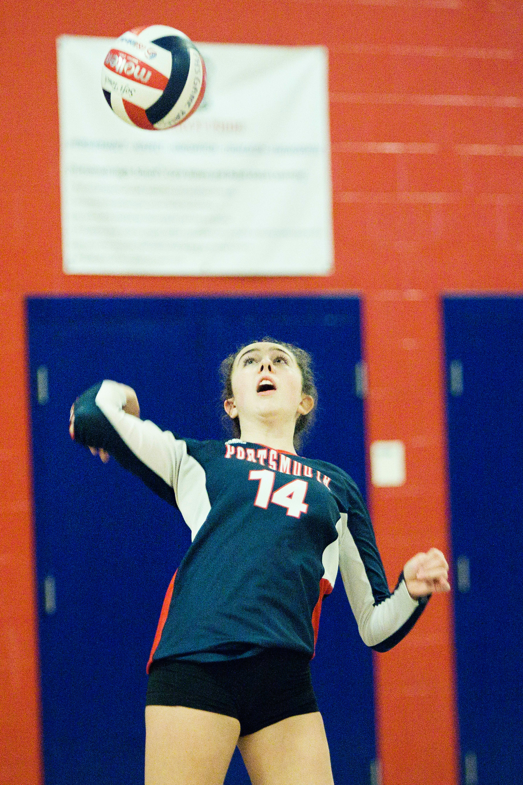 Jill Lunney serves the ball for Portsmouth.