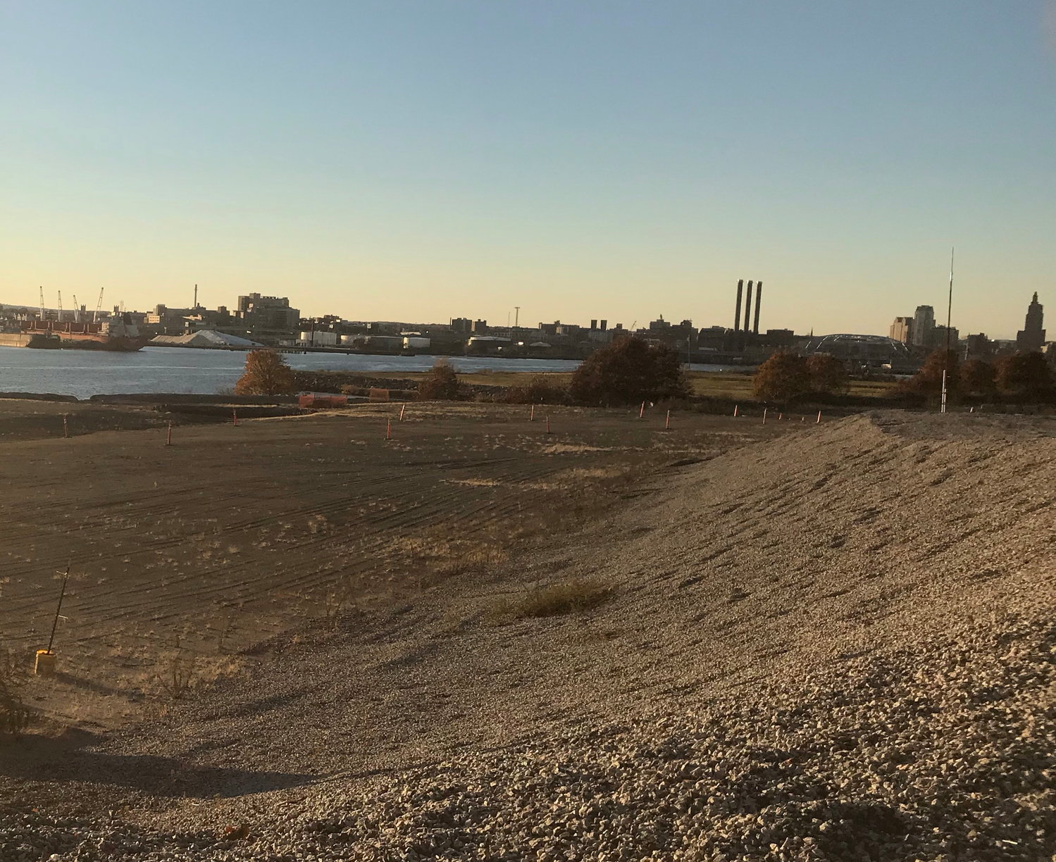 A November 2018 look northwest from the Chevron property towards downtown Providence.