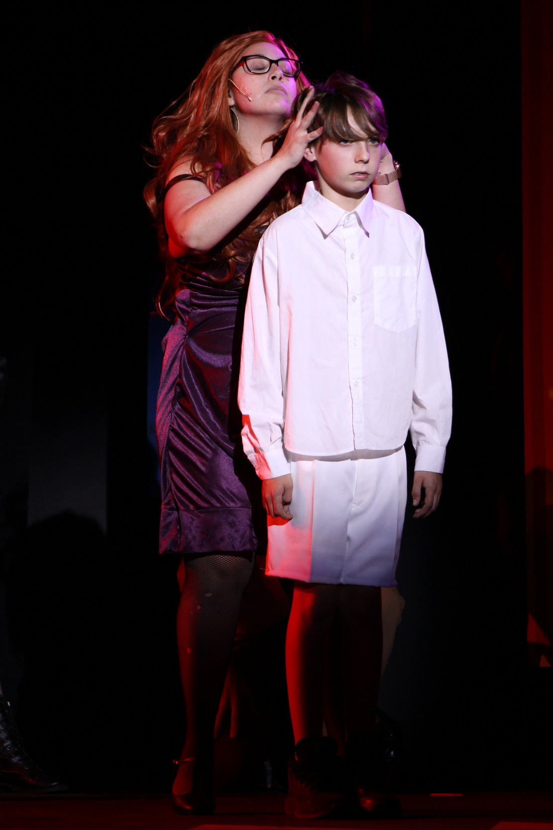 Katie Silva of Warren as The Acid Queen, with Myles Napolitano of Barrington as 10 year old Tommy.