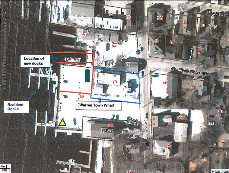 A birds-eye view of the Warren Town Wharf, showing the expected placement of transient boating slips.