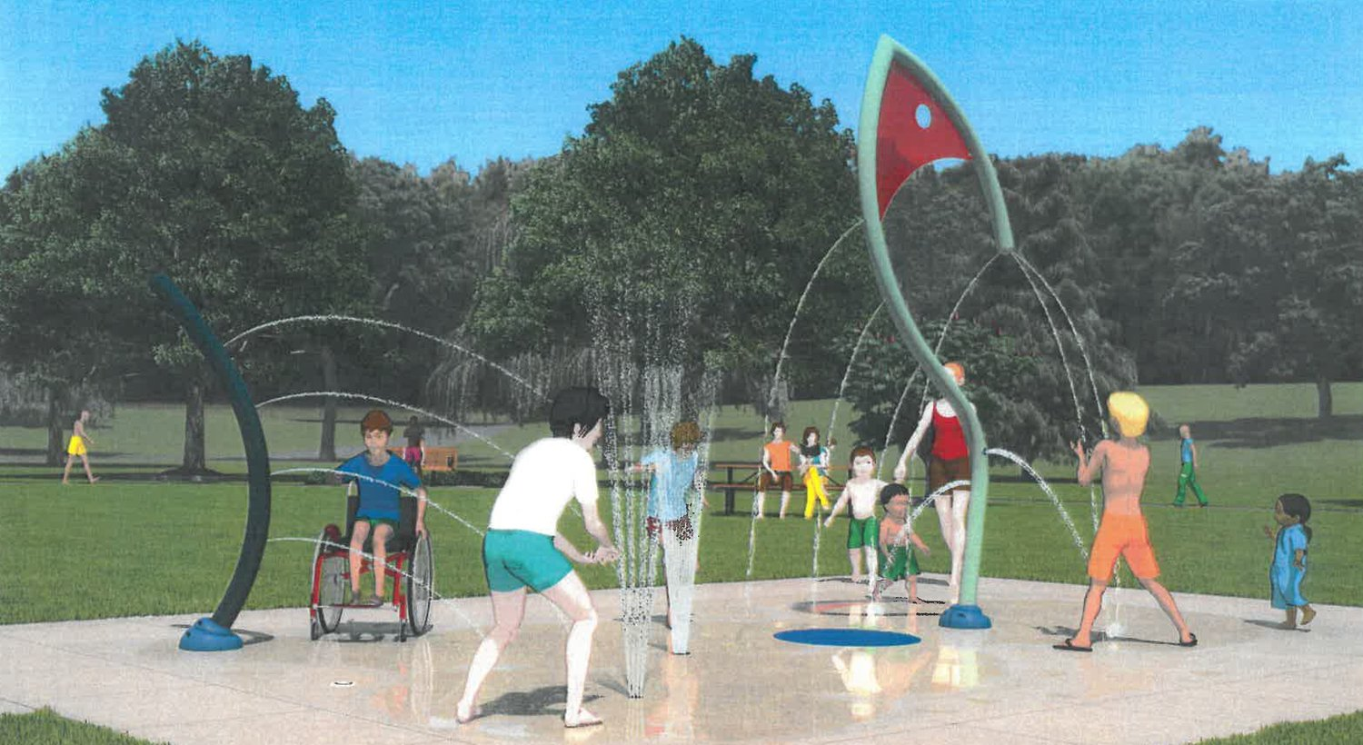 This computer-generated image shows the water play features that will be included at the Police Cove Park splash pad.