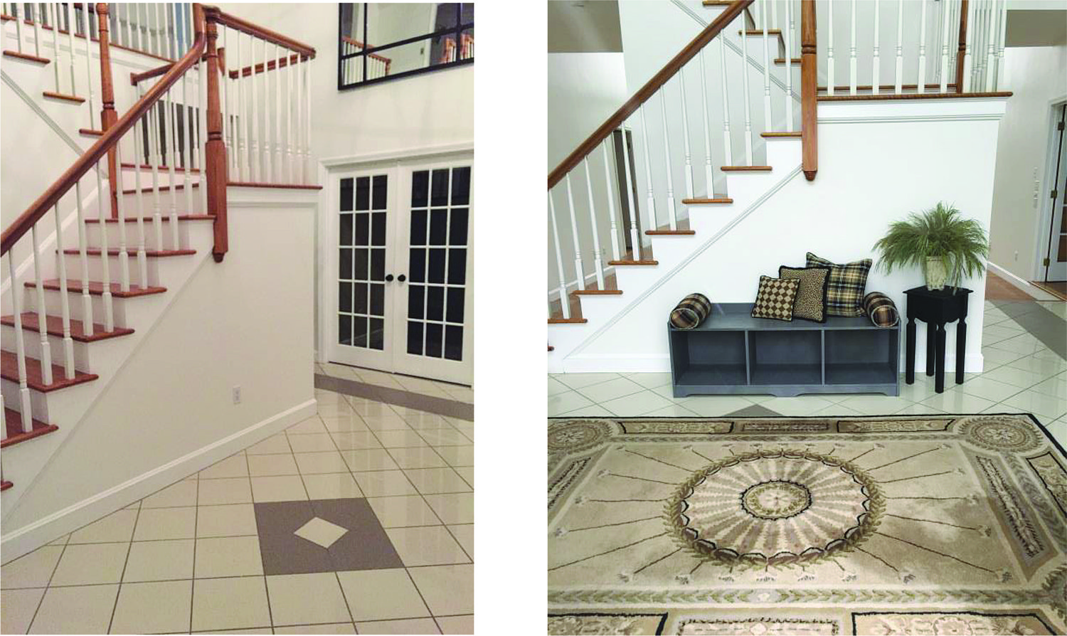 A few small changes bring life and interest to a large foyer.