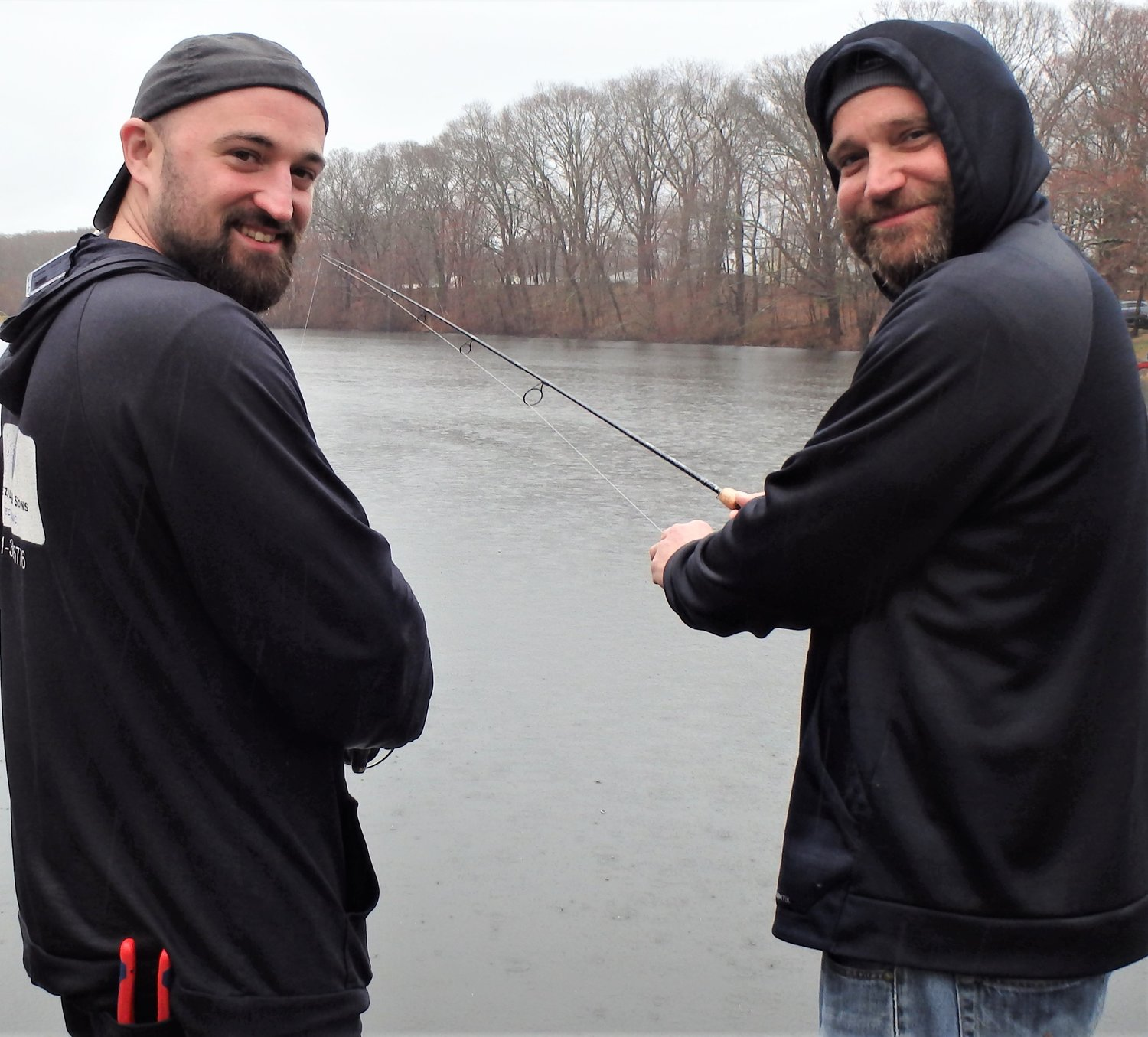 Family traditions: Brothers Nick and Ted Crevier of Riverside have been fishing on opening day (shown at Willet Avenue Pond) most of their lives.
