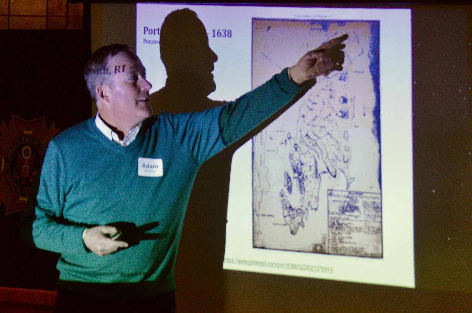 Adam Whelchel, director of science at The Nature Conservancy in Connecticut, points to a map of the town during the first day of the workshop on April 6.