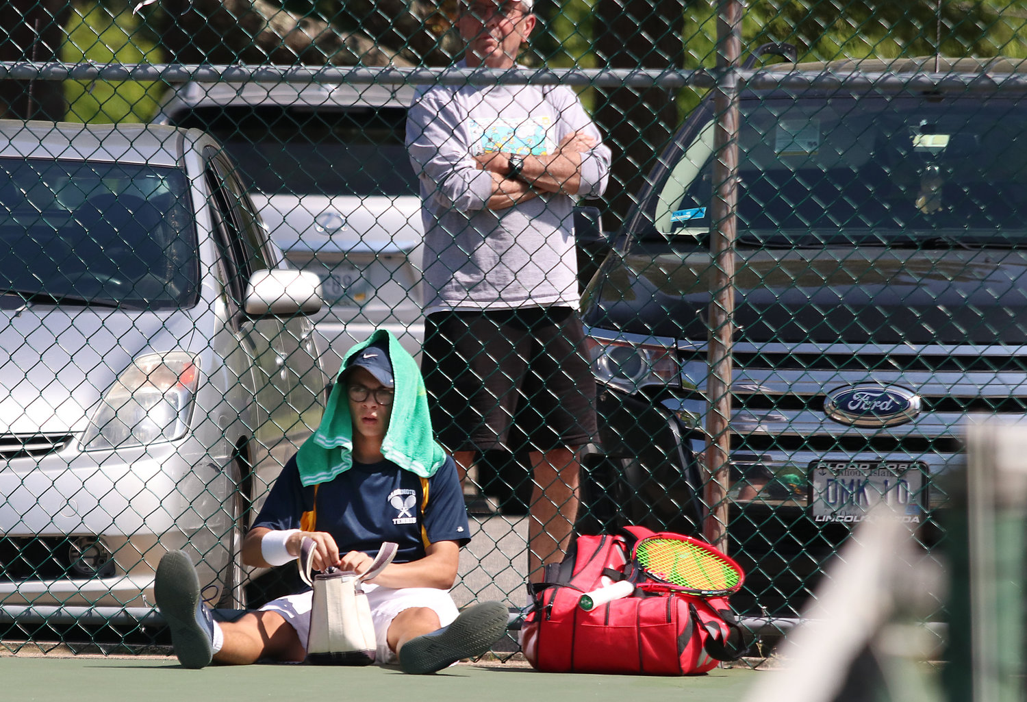 Barrington's James Bogdanovic takes a break during his finals match on Saturday.