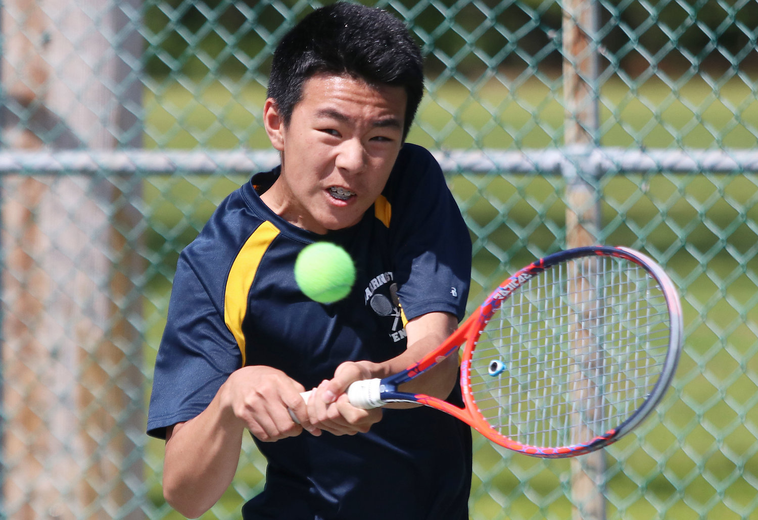 Barrington High School's Eric Zhang lines up a shot during the Division I finals on Saturday at Slater Park in Pawtucket.
