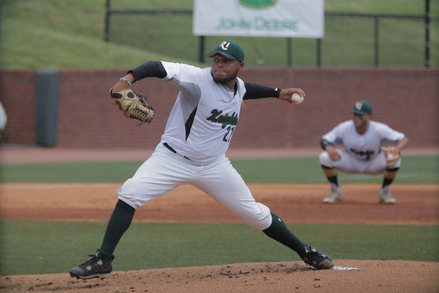 C.J. Woods delivers a pitch for CCRI during one of the Knights' NJCAA Division III national tournament games.