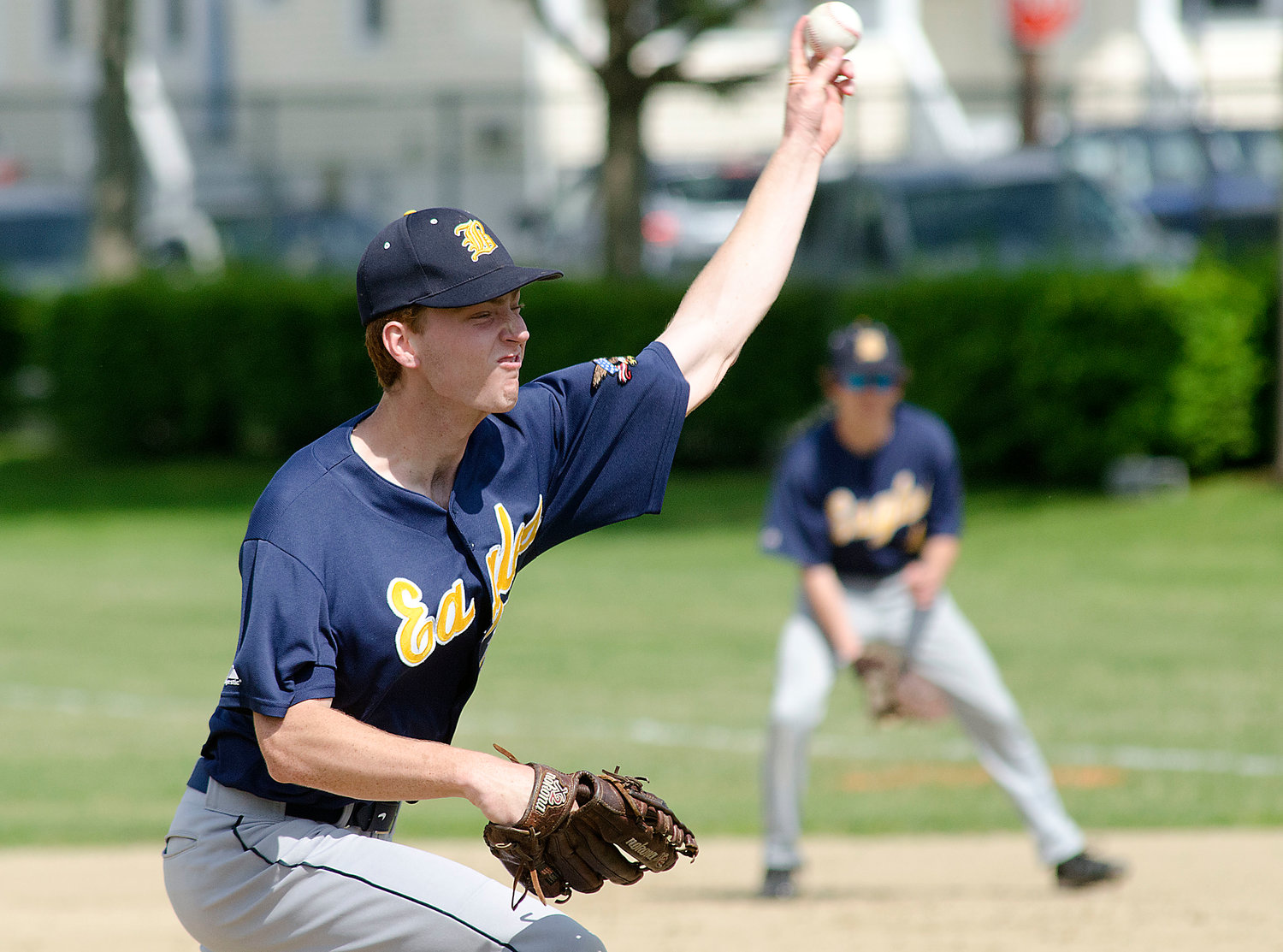 Eagles lefty Henry Johnson throws a pitch during their D-II playoff game at Mt. Hope on Friday.