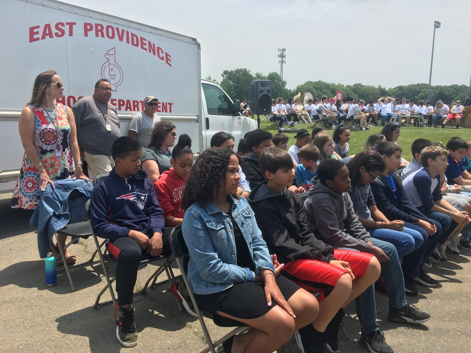 Sixth graders from the Riverside and Martin Middle Schools, the first full class of students expected to graduate from the new EPHS in 2025, attend the ceremony.