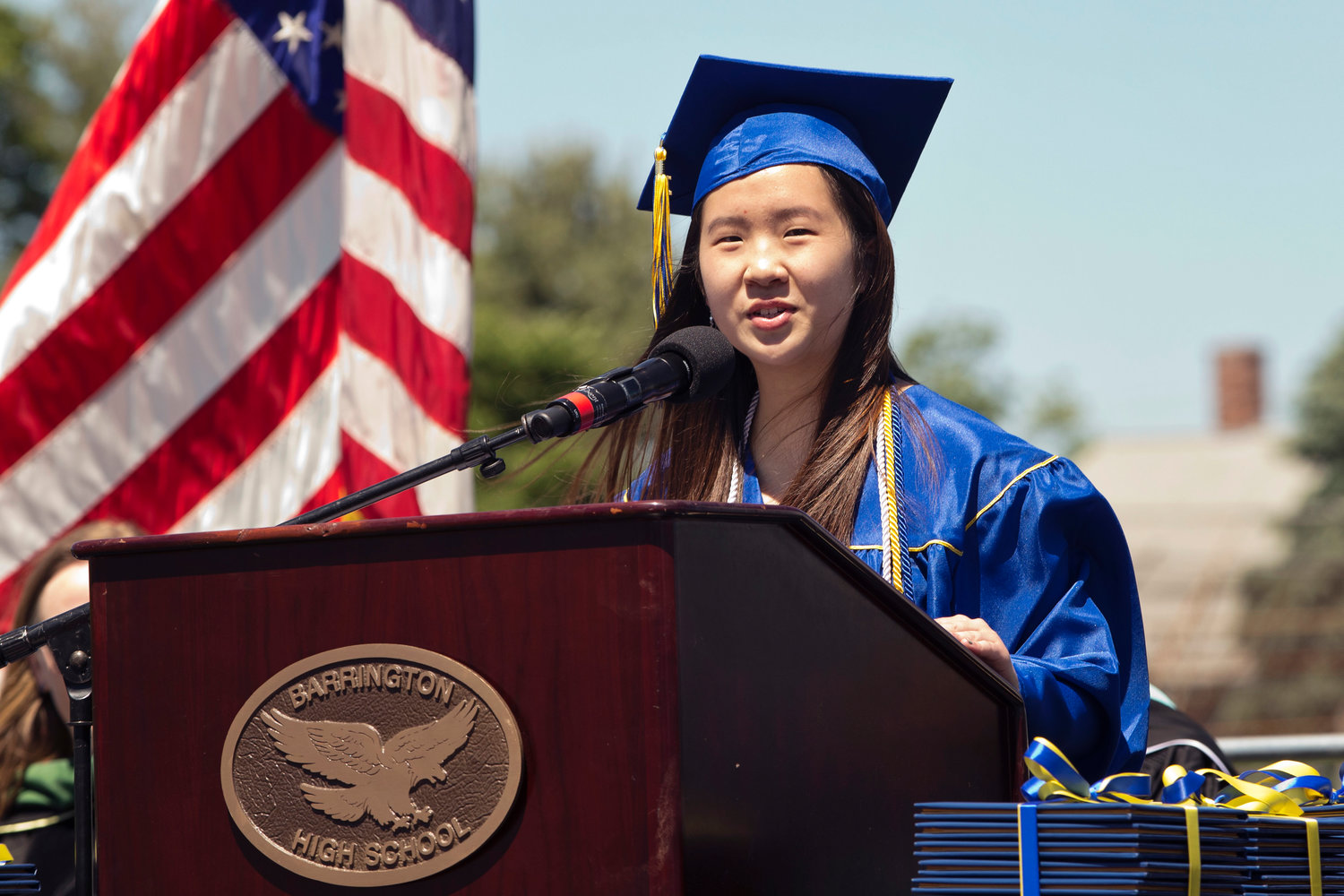Barrington High School senior class president Josephine Kuo addresses fellow graduates.