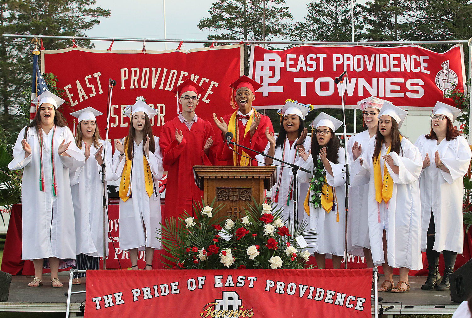 Senior members of the EPHS Chorus sing at commencement.