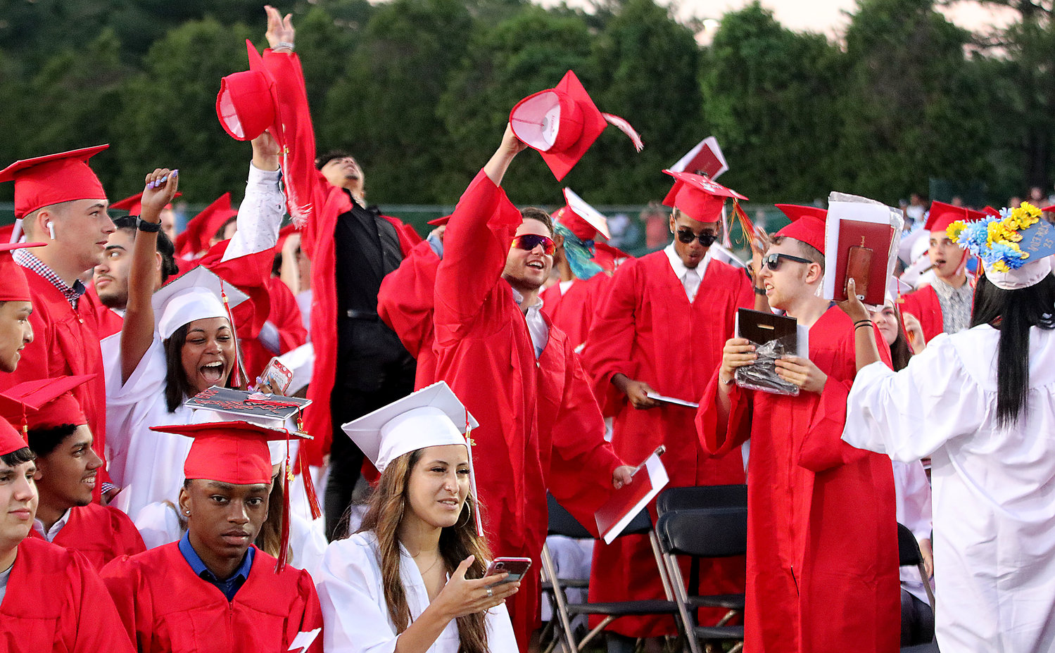 EPHS seniors celebrate after turning their tassles during the ceremony.
