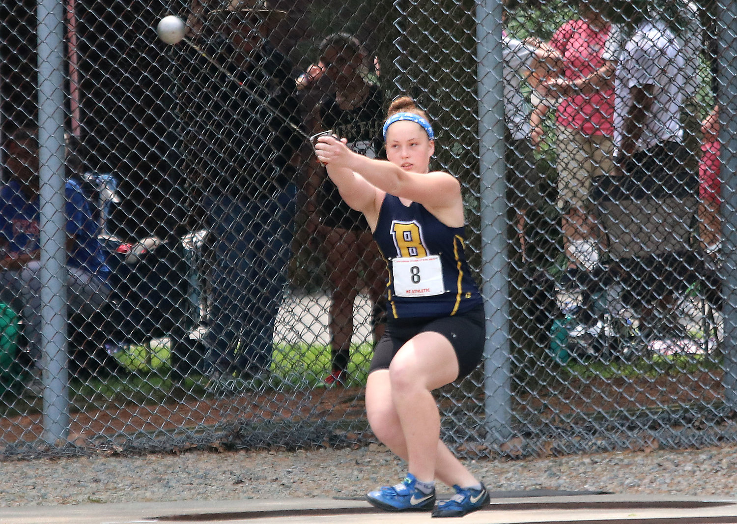 Annika Kelly, shown competing at the state track meet, was recently named Gatorade RI Girls Track and Field Athlete of the Year.