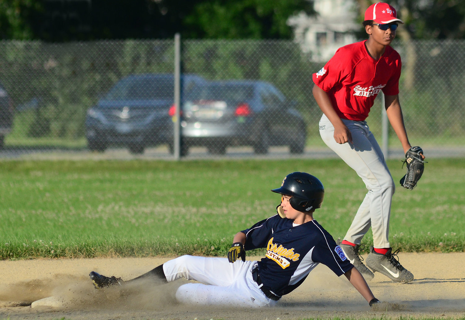 Barrington's Quinn Murphy slides safely into second base during Monday's game.
