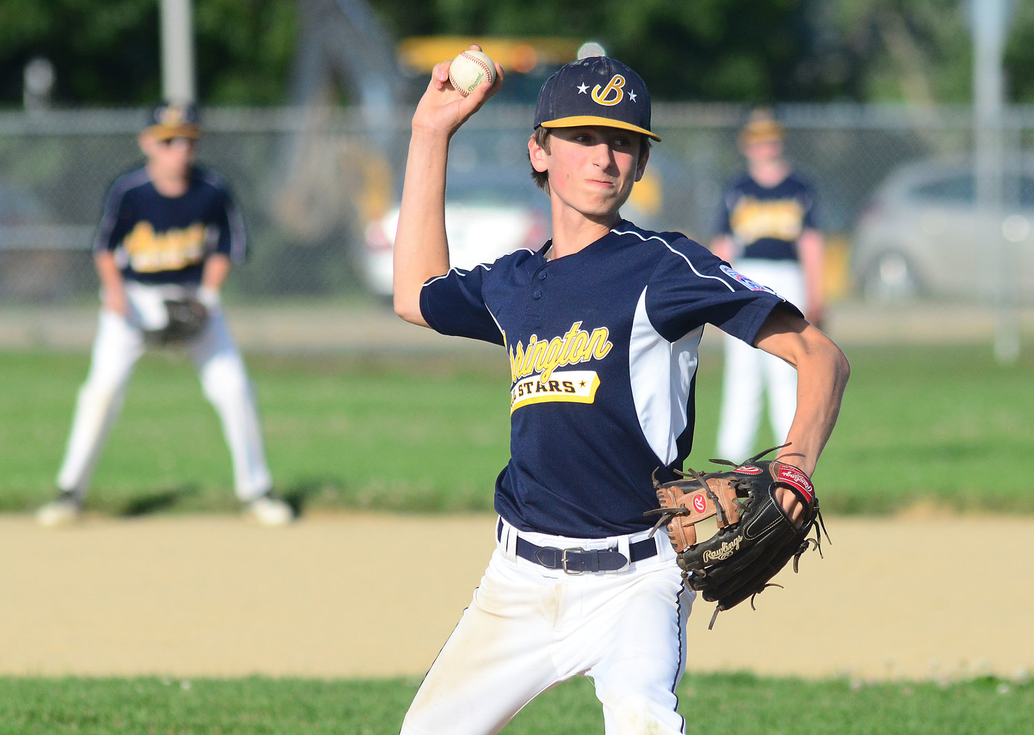 Barrington's Trevor Snow delivers a pitch during Monday's All-Star game.