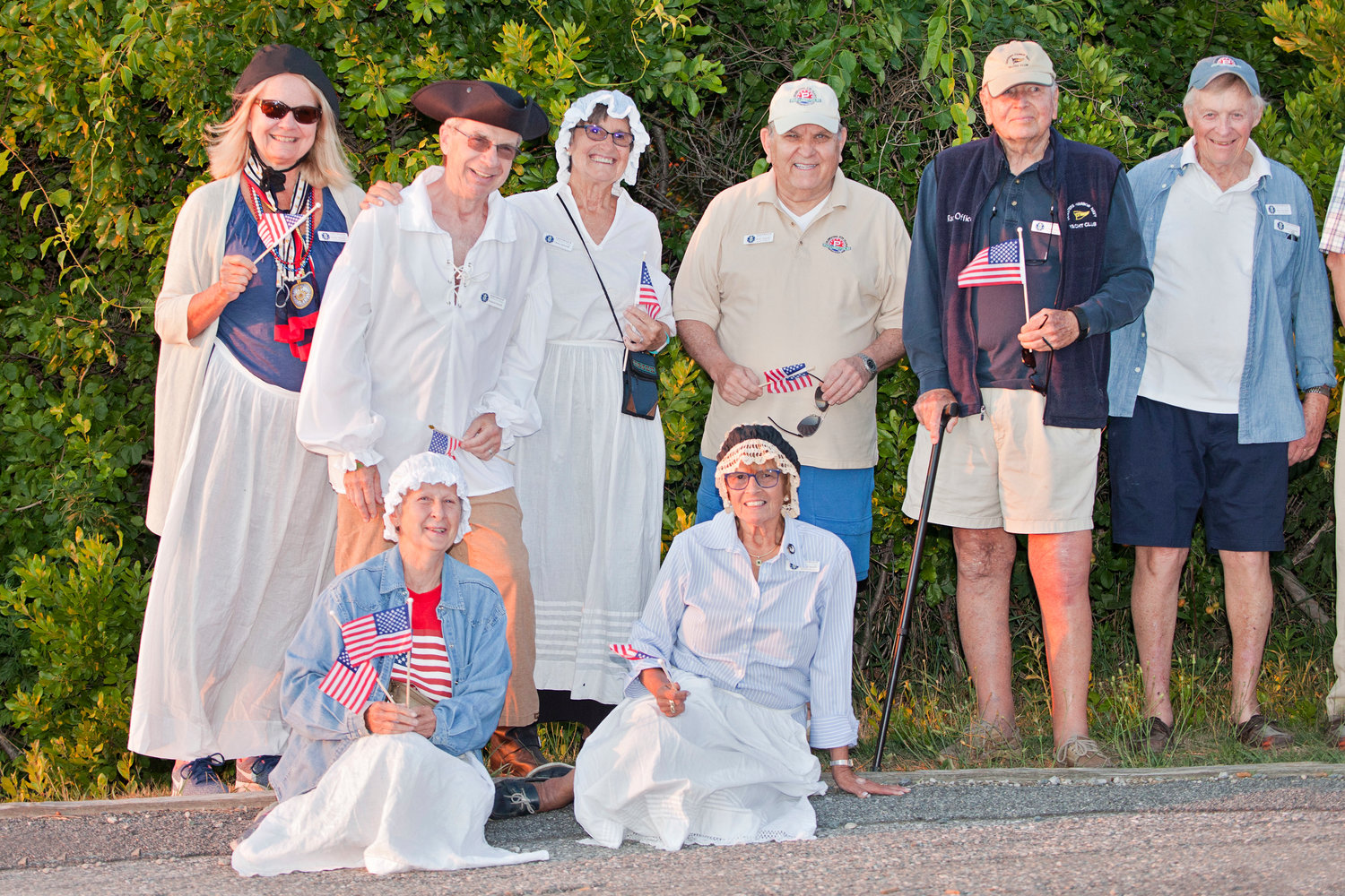 Members of the Portsmouth Historical Society pose for a photo while waiting for paddlers to arrive at Weaver Cove by kayak in July 2018. The group was retracing the route used by Colonial soldiers in a stealth (and mostly forgotten) mission during the Revolutionary War in 1777. Kayakers plan on doing it again on Wednesday, July 24.