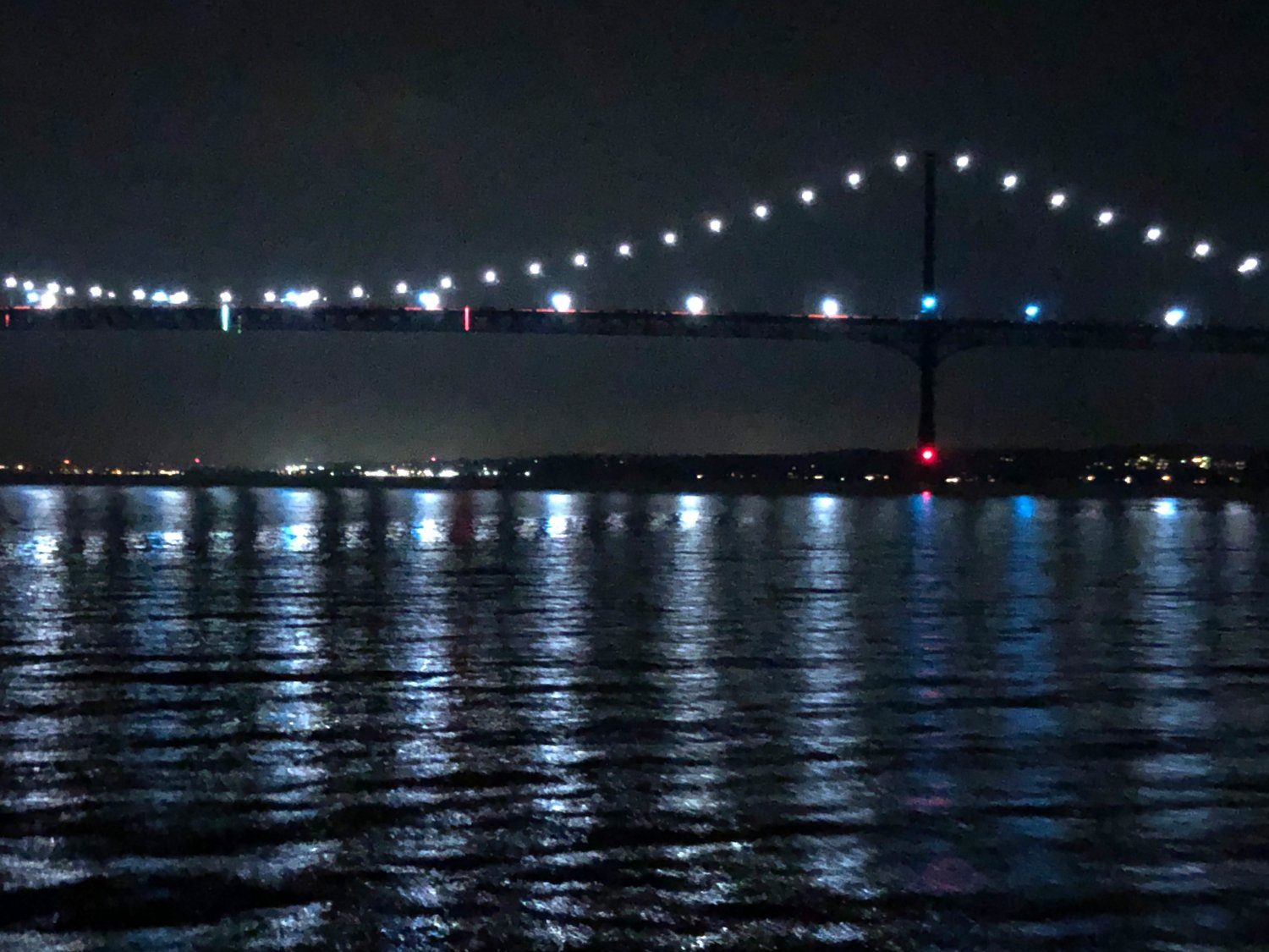 The Mt. Hope Bridge was aglow as the ferry approached just after 9 p.m. Saturday.