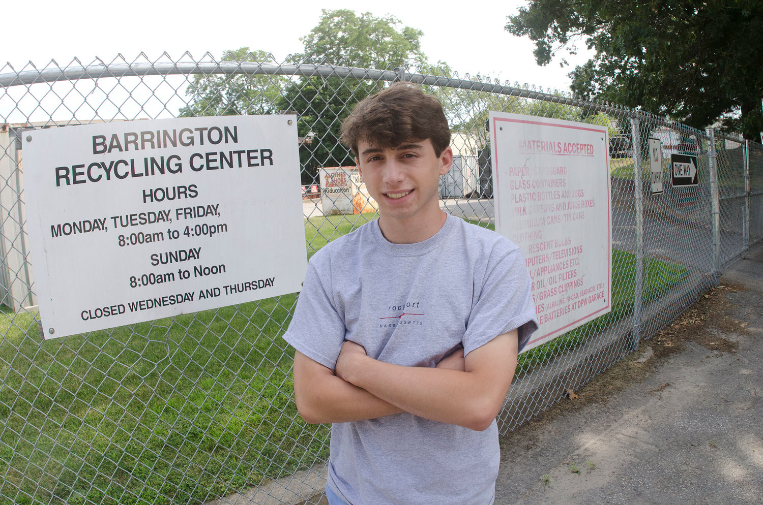 Barrington's Alex Caizzi, a rising junior at the high school, is completing a summer internship focused on improving residents' recycling efforts in town.