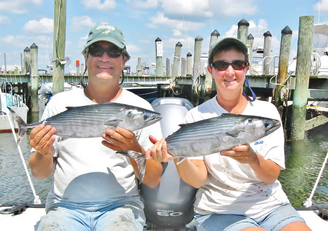 Roger and Susan Lema with bonito. They love to chase these speedsters along with false albacore.