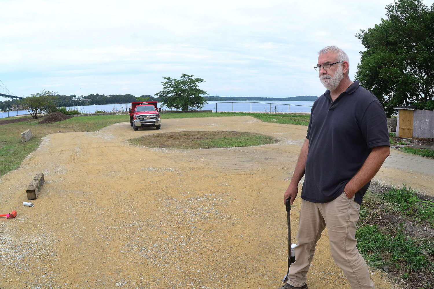 Department of Public Works Director Brian Woodhead looks over the grounds as his team works to open Mt. Hope Park on Friday.
