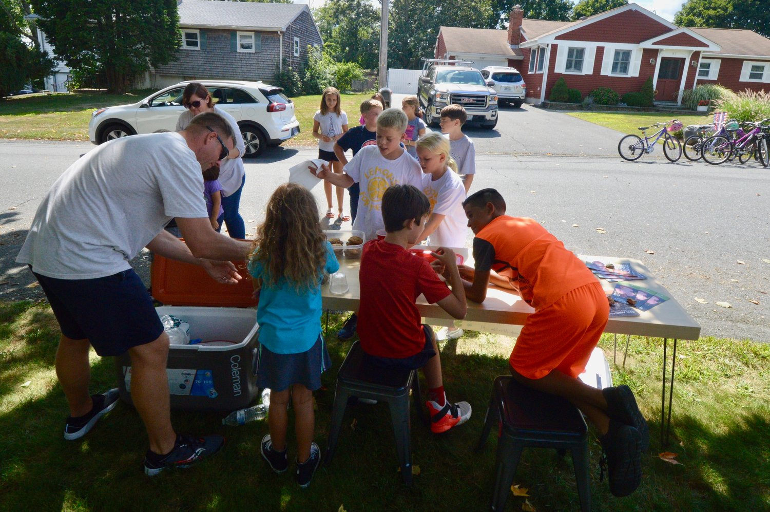 A line of children wait for lemonade in front of the Schaub family's stand Sunday.