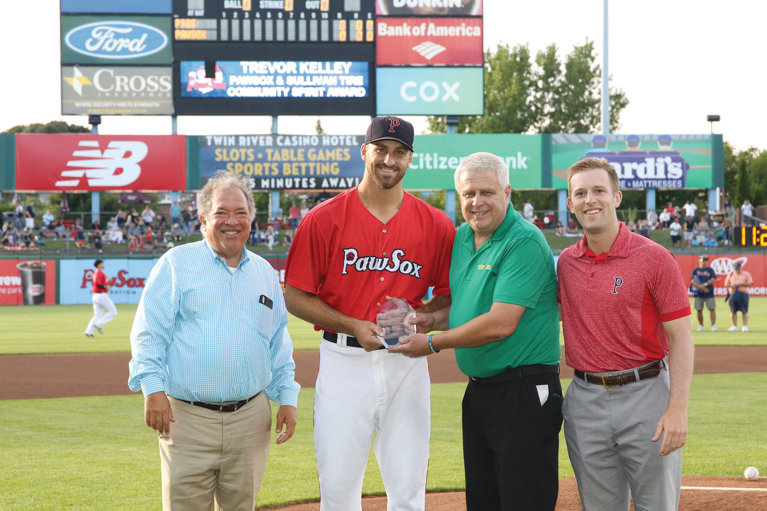 Barrington native and current PawSox pitcher Trevor Kelley recently received the Sullivan Tire PawSox Community Spirit Award.