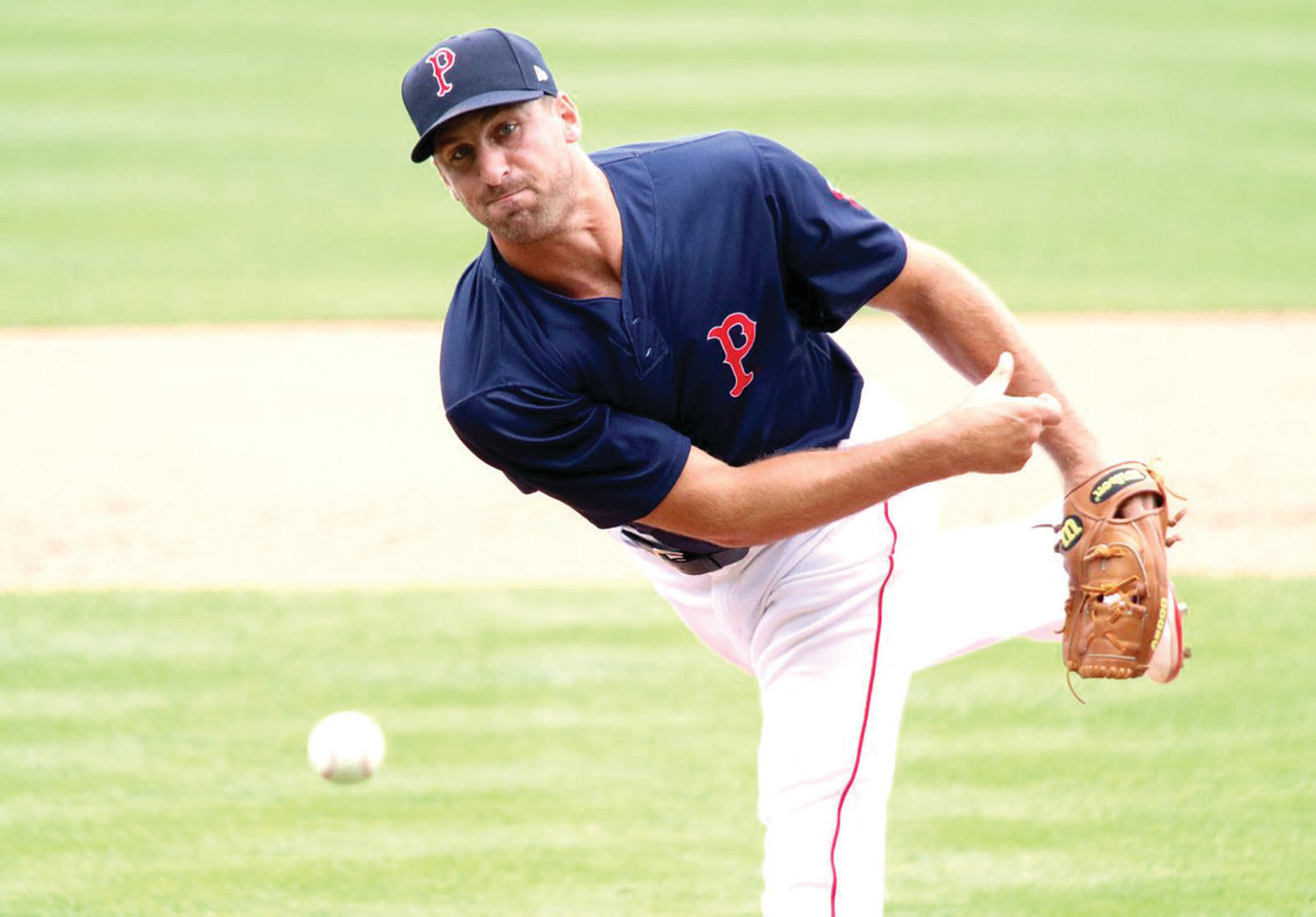 Barrington native Trevor Kelley fires a strike toward the plate during a Pawtucket Red Sox game earlier this season.