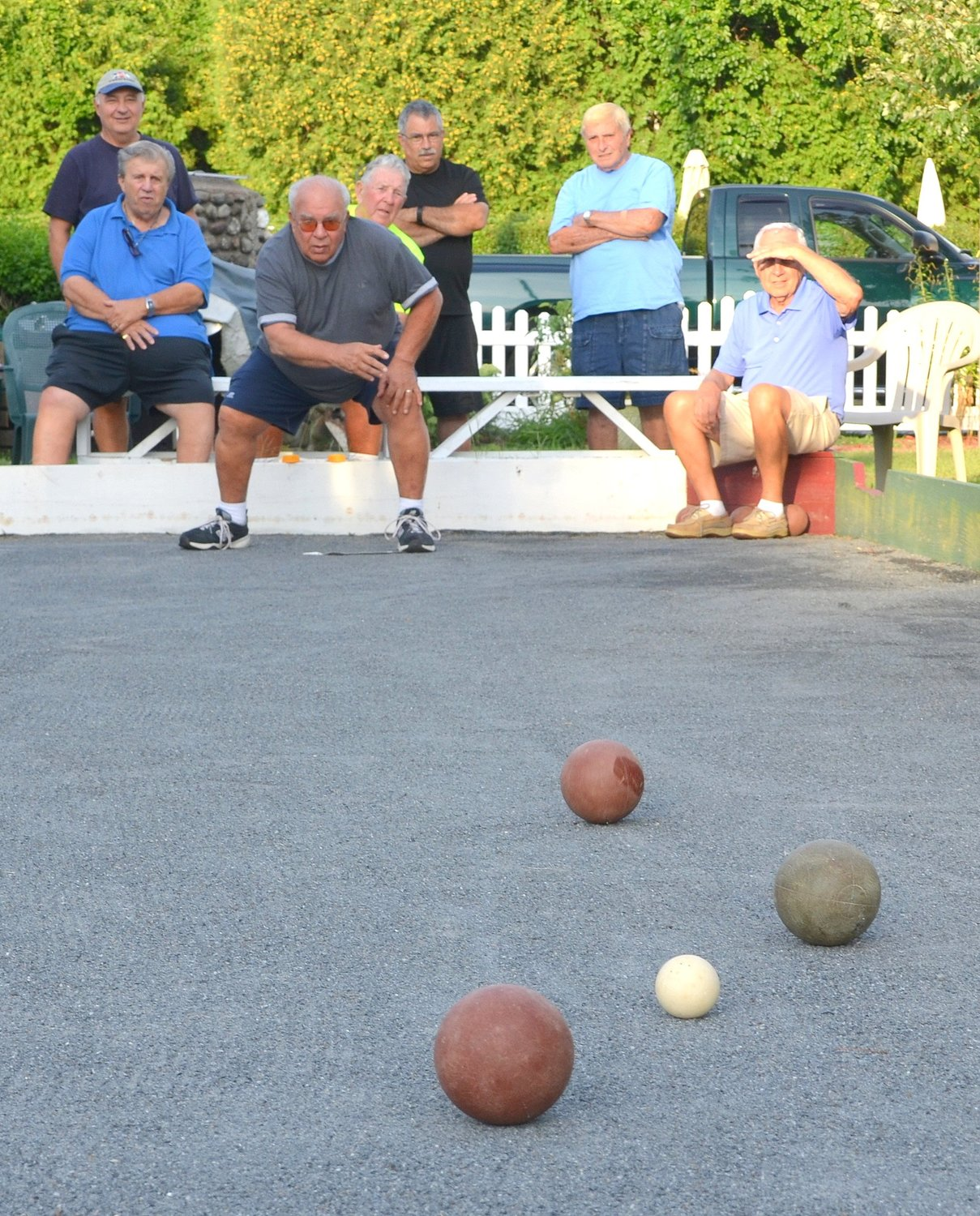 Richard Travers figures he's delivered the perfect ball in recent Mt. Hope Bocce League action.