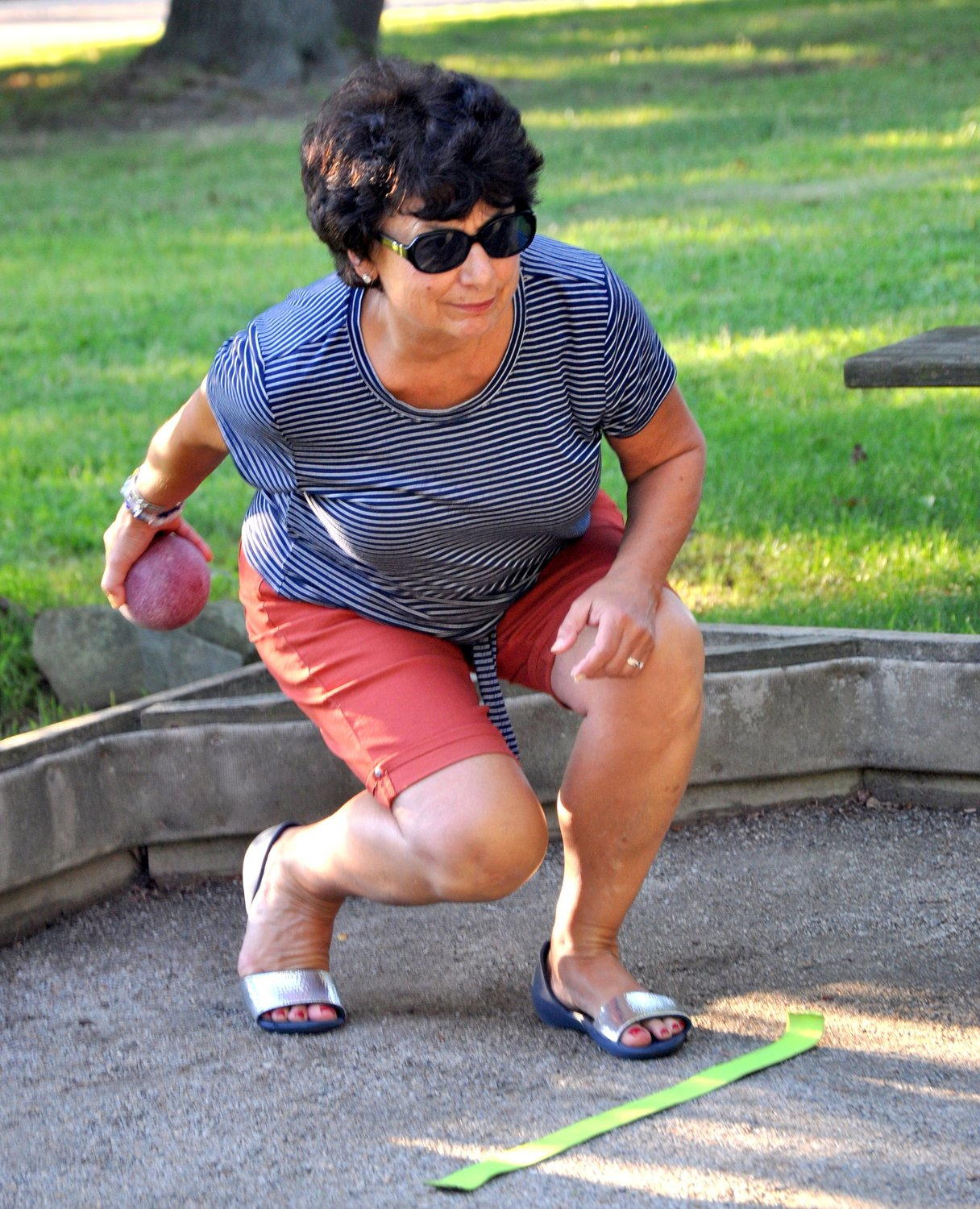 Hopeworth Bocce League's Madlyn McArdle shows the perfect delivery form.