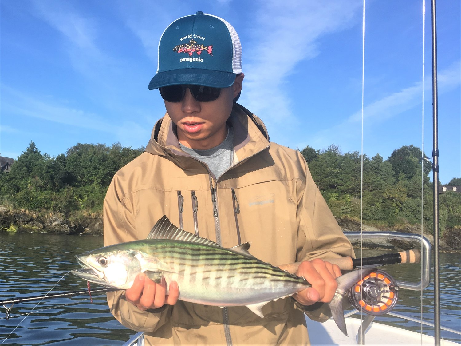 RI Slam: Mason Yeh, Connecticut, with a bonito he caught off Newport saltwater fly fishing with Capt. Rene Letourneau of On The Rocks Charters. Yeh caught a striped bass and bluefish the same day too.