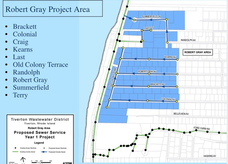 Map shows lots past the Robert Gray Area (Phase 1) of the sewer project, will pass. Green line and dots show existing sewer and manholes.