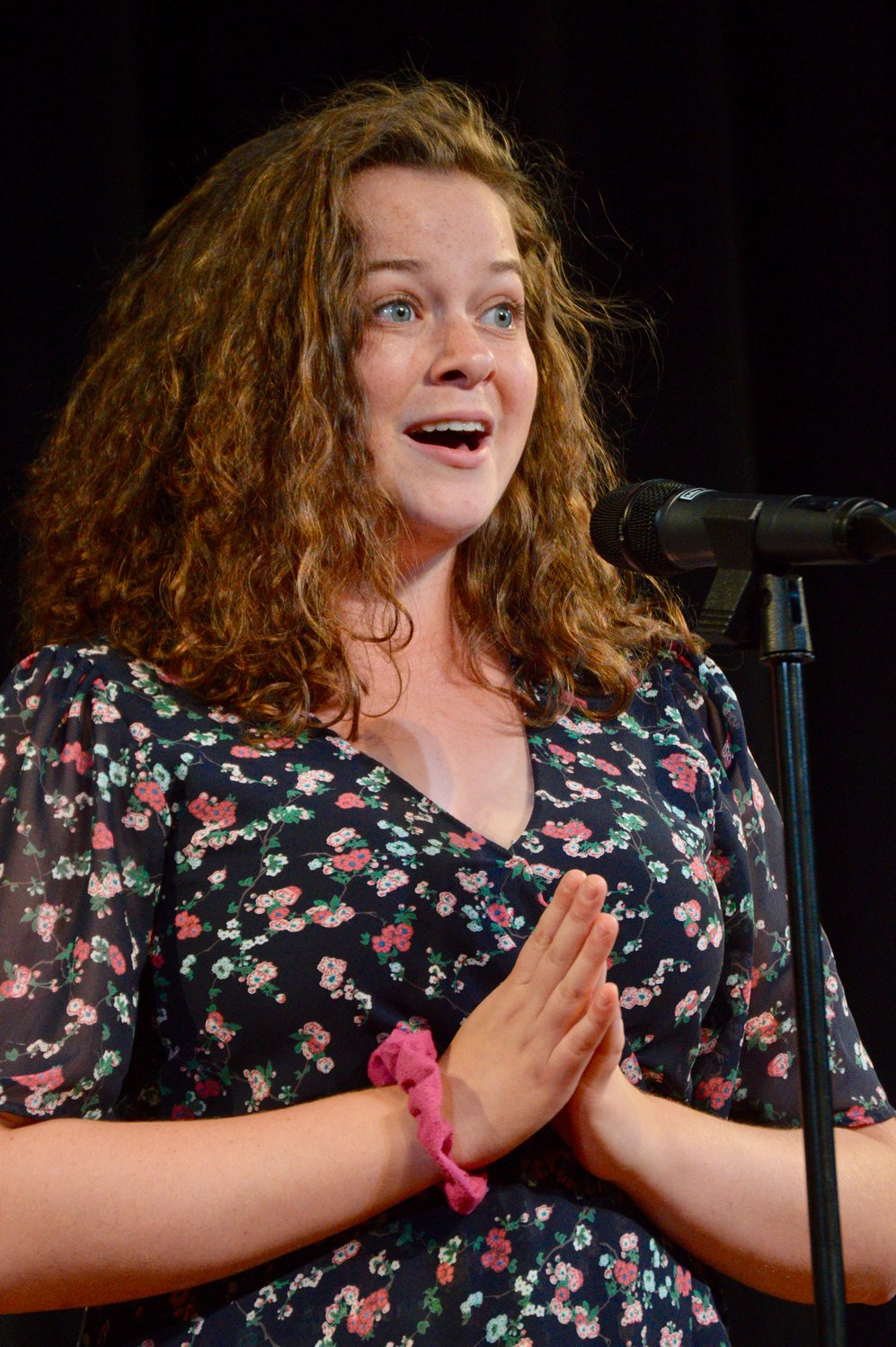 An animated Olivia Brennan was full of energy during her vocal solo in rehearsal.