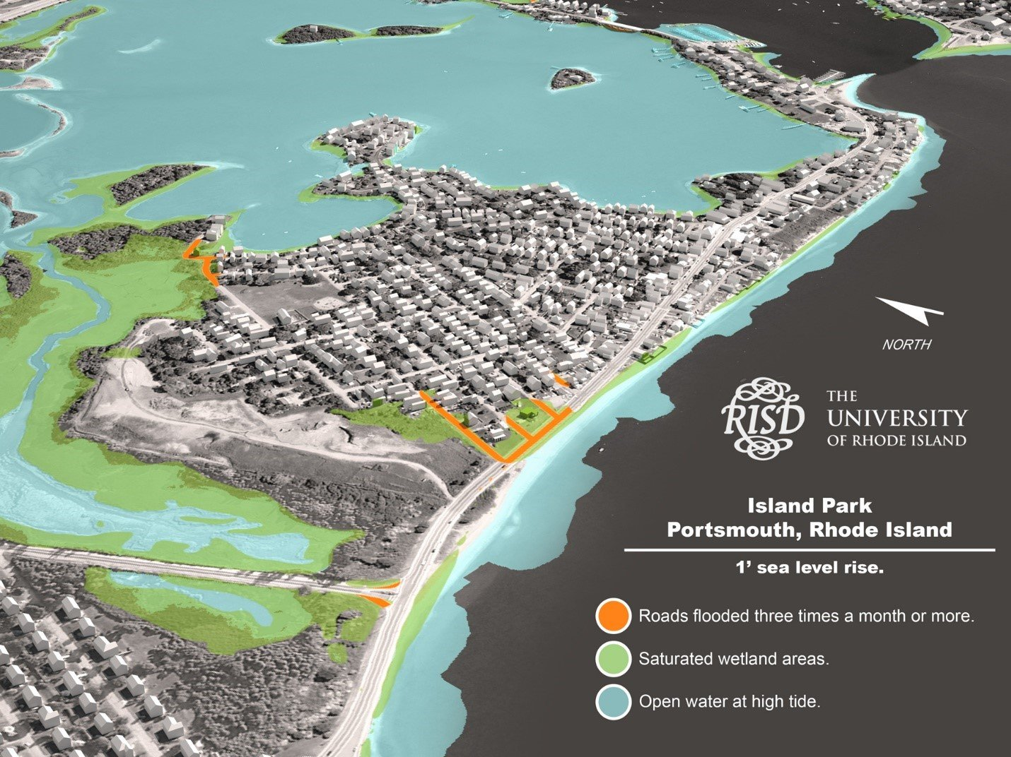 This graphic, which is included in the visualization survey, purports to show the impact of one foot of sea level rise on Island Park.